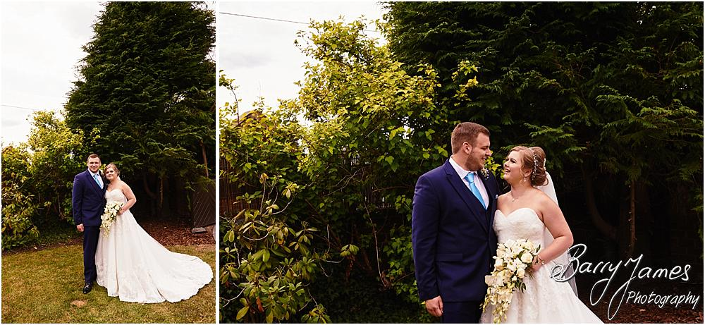 Creative and contemporary portraits of the bride and groom in the gardens at Oak Farm in Cannock by Cannock Wedding Photographer Barry James