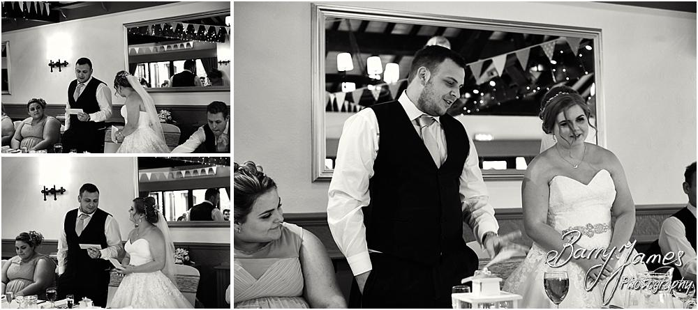 Storytelling photographs of the emotional speech by the bride and groom at Oak Farm in Cannock by Cannock Wedding Photographer Barry James