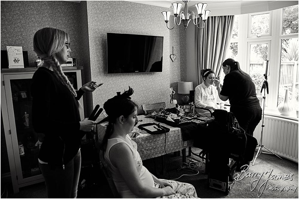 Creative candid photographs of the wedding morning ahead of the ceremony at Castle Church Stafford by Stafford Wedding Photographer Barry James