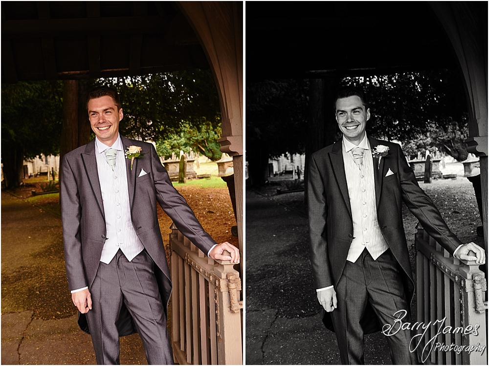 Creative and contemporary photographs of the groomsmen at Castle Church Stafford by Stafford Wedding Photographer Barry James