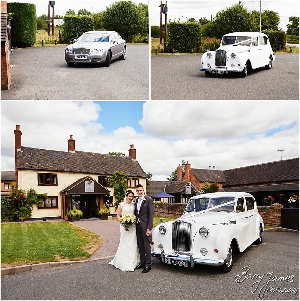 Arriving in style with Platinum Cars at Oak Farm Cannock by Stafford Wedding Photographer Barry James