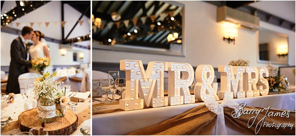 Beautiful photographs of the stunningly styled wedding breakfast by Fine Flowers and Venue Creations at Oak Farm Cannock by Stafford Wedding Photographer Barry James