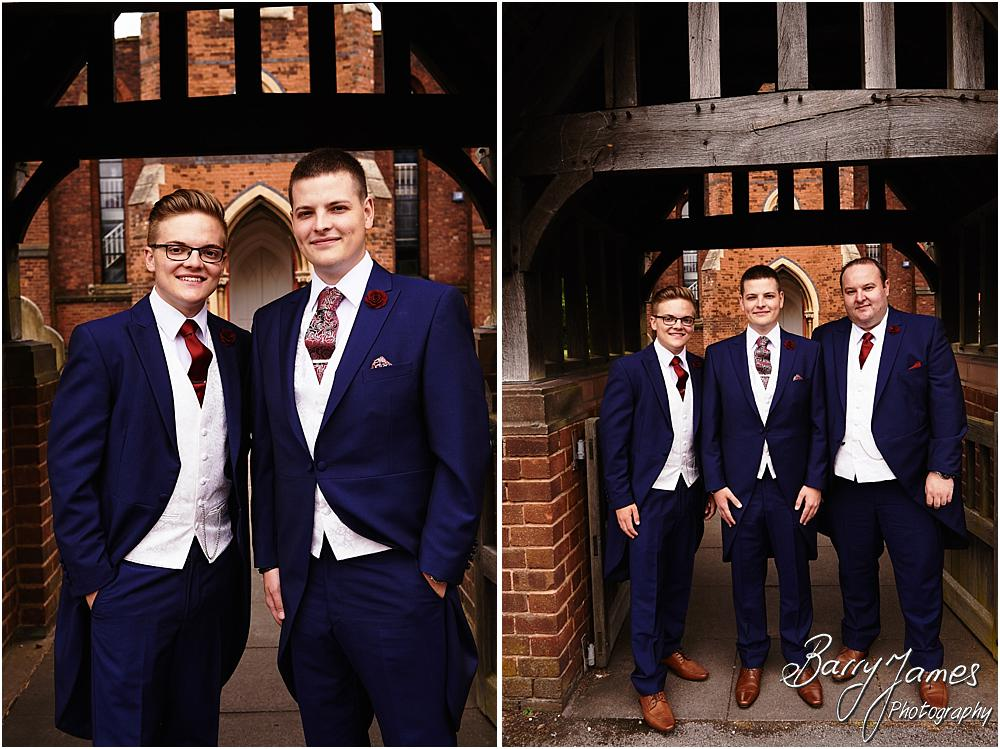 Contemporary photographs of the groom and ushers arrival at St Michaels Church Pelsall by Walsall Wedding Photographer Barry James