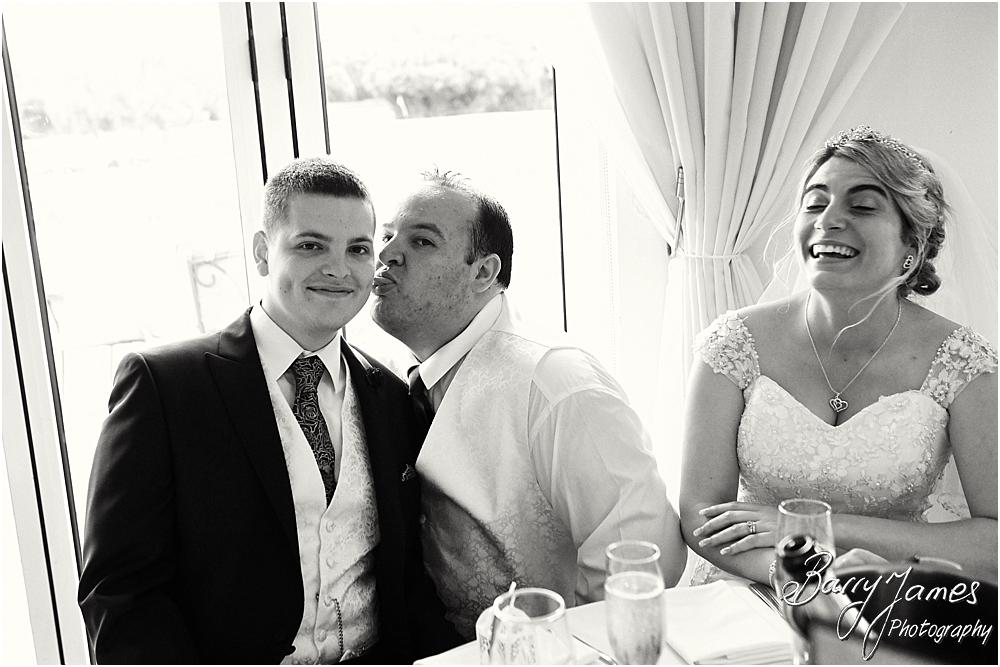 Creative candid photographs of the emotional speeches at Calderfields Walsall by Walsall Wedding Photographer Barry James