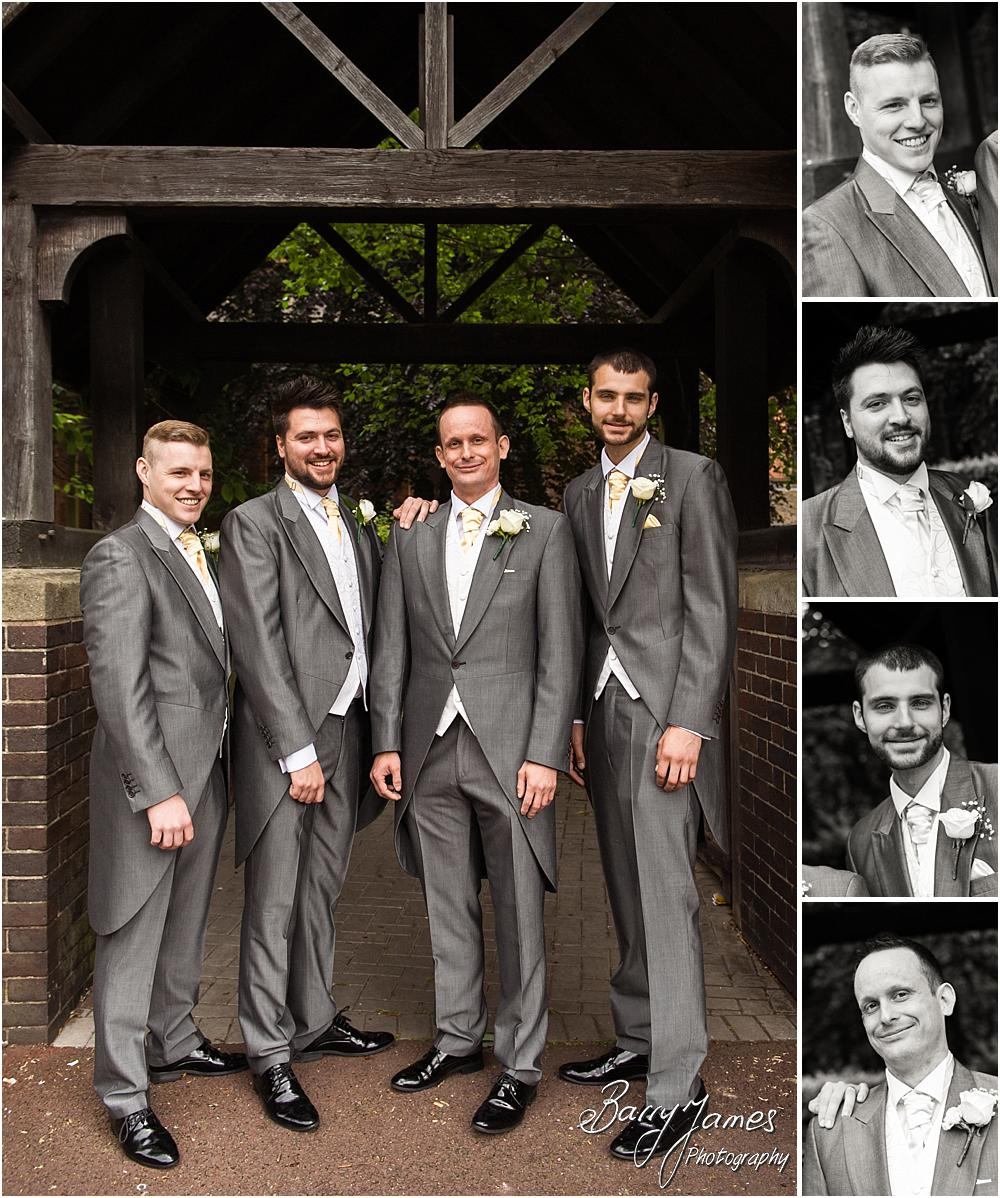 Contemporary groom and groomsmen portraits at All Saints Church in Bloxwich by Walsall Wedding Photographer Barry James