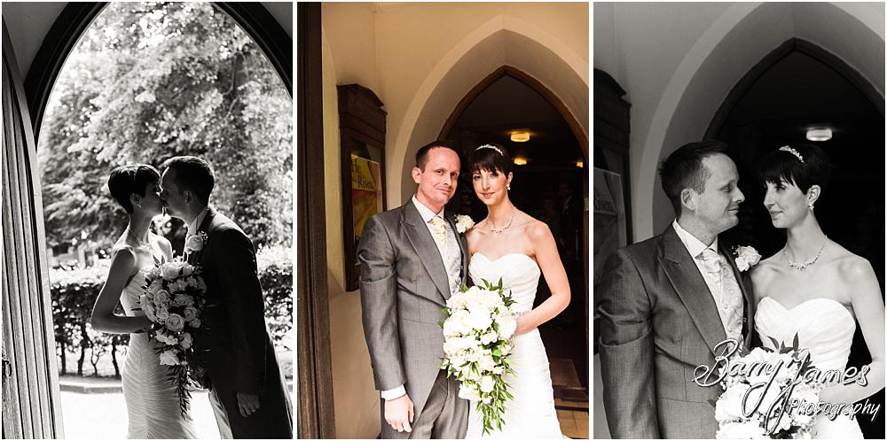 Contemporary doorway portraits of the newly married Mr & Mrs at All Saints Church in Bloxwich by Walsall Wedding Photographer Barry James