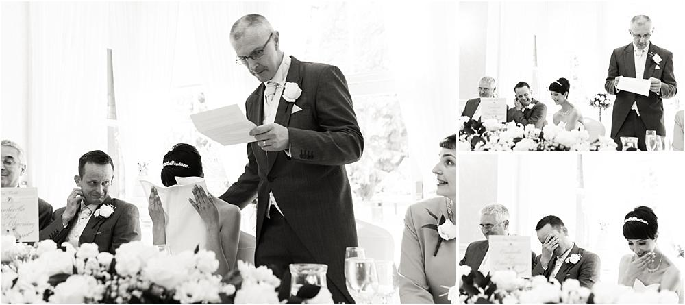 Candid photos that show the emotion and feeling during the Father of the Bride's speech at Rodbaston Hall in Penkridge by Walsall Wedding Photographer Barry James