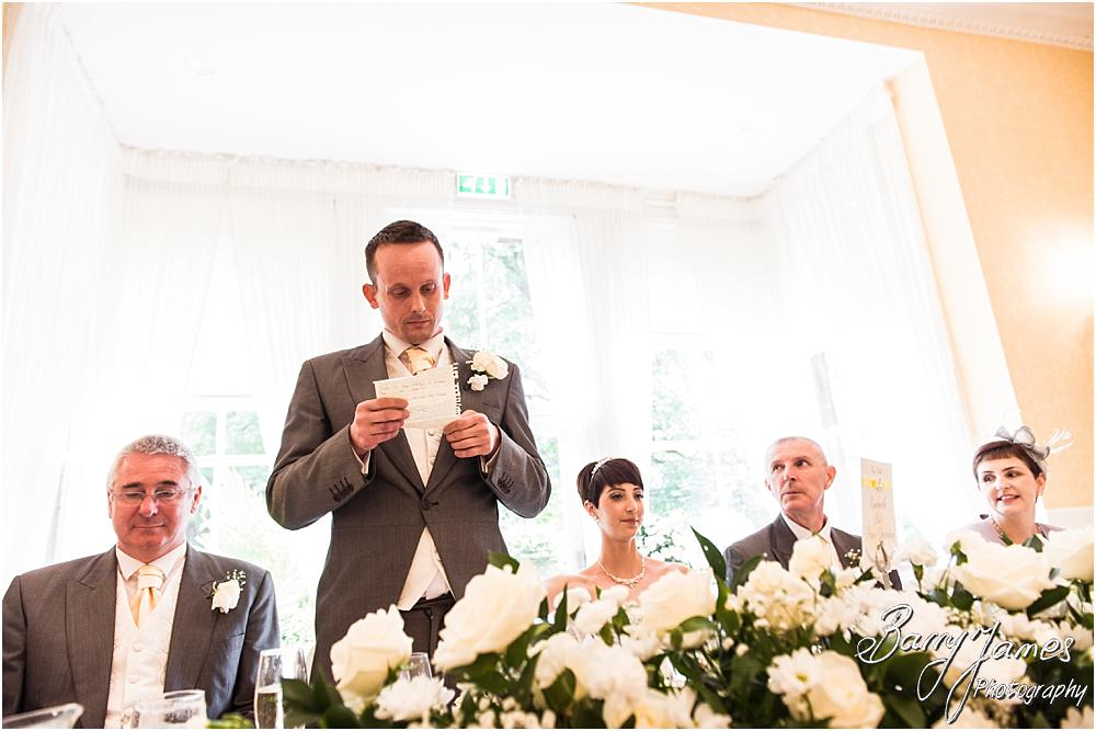 Capturing the meaning and emotion during the grooms speech at Rodbaston Hall in Penkridge by Walsall Wedding Photographer Barry James