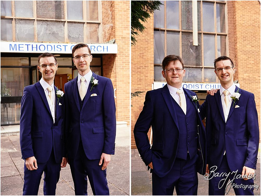 Relaxed photographs of the groomsmen at Brownhills Methodist Church in Walsall by Walsall Wedding Photographer Barry James