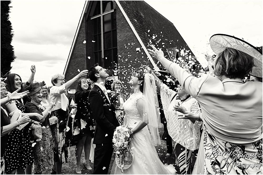 Confetti fun at Brownhills Methodist Church in Walsall by Walsall Wedding Photographer Barry James