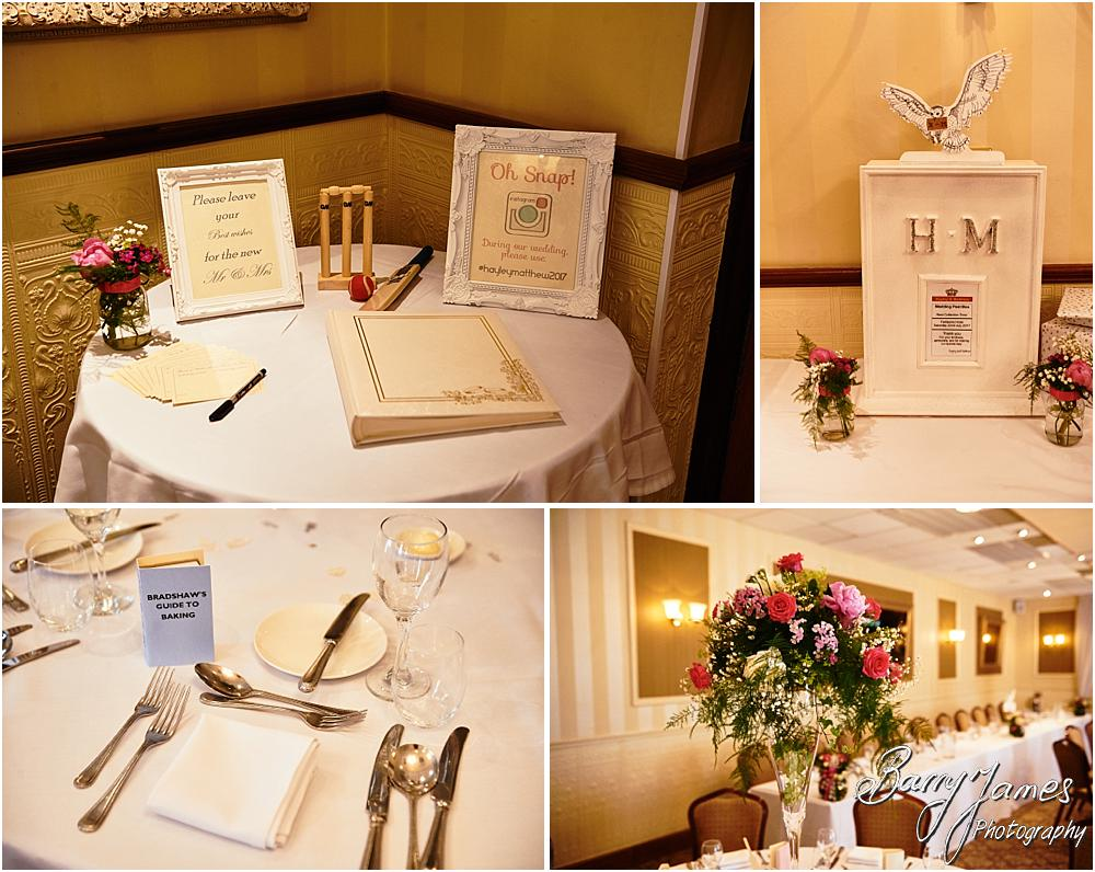 Stunning details for the wedding breakfast of Hayley + Matthew at The Fairlawns in Walsall by Walsall Wedding Photographer Barry James