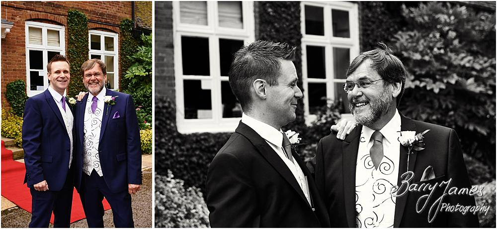 Relaxed contemporary portraits of the groomsmen ahead of the wedding at Acton Trussell by Stafford Wedding Photographer Barry James