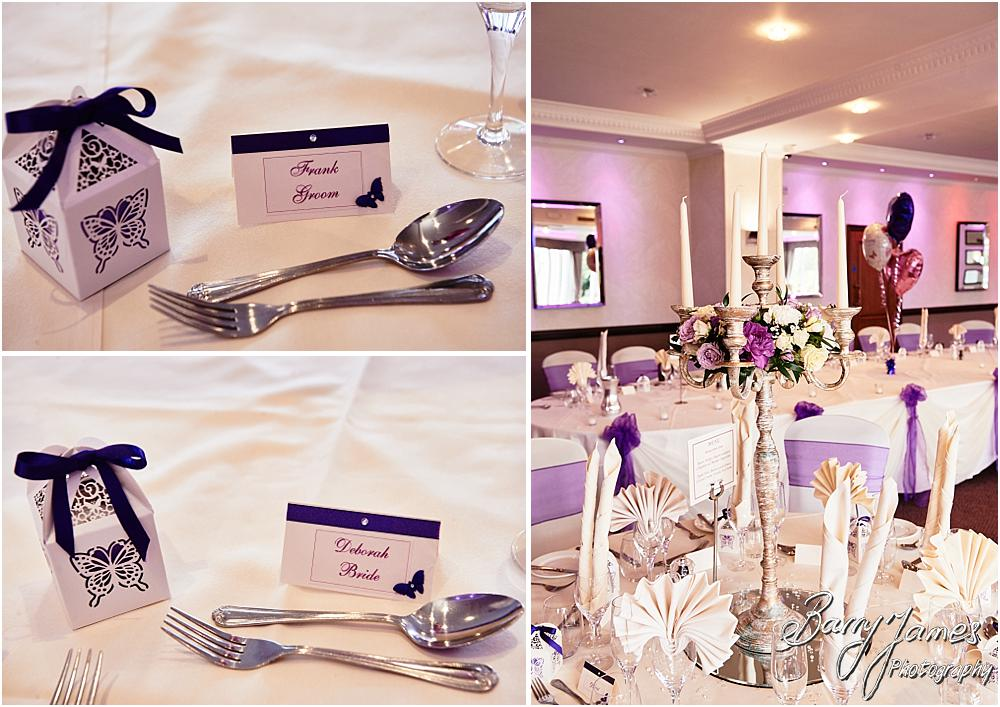 Beautiful styling and detailing for the wedding breakfast in the Acton Suite from Sorella Decor at Acton Trussell by Stafford Wedding Photographer Barry James