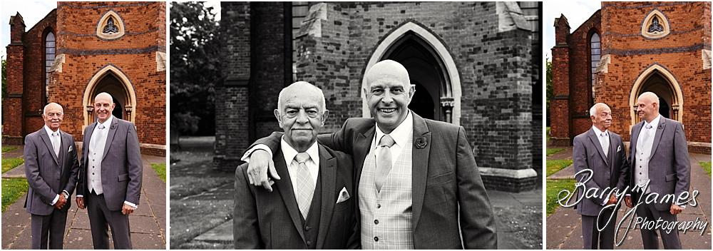 Creative contemporary portraits of the grooms party at St Michaels Church in Pelsall by Walsall Wedding Photographer Barry James