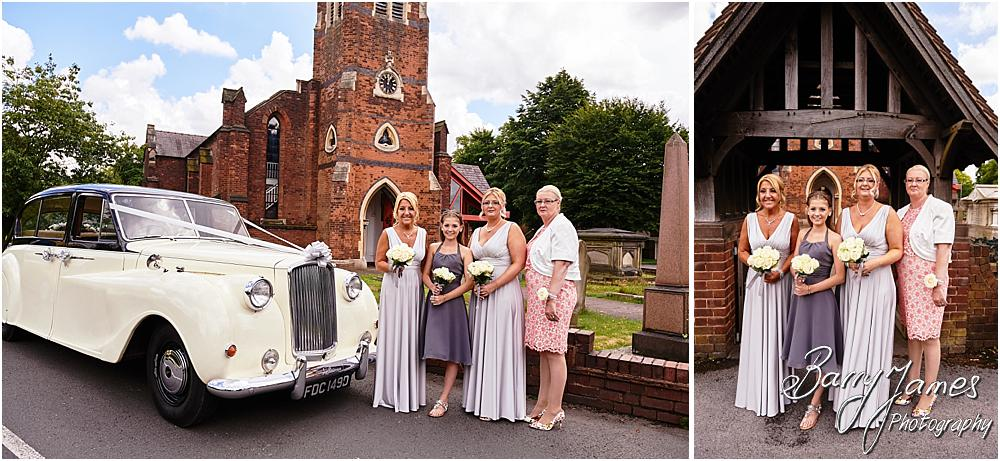 Capturing the arrival of the beautiful bridal party in the horse drawn carriage and vintage wedding car at St Michaels Church in Pelsall by Walsall Wedding Photographer Barry James
