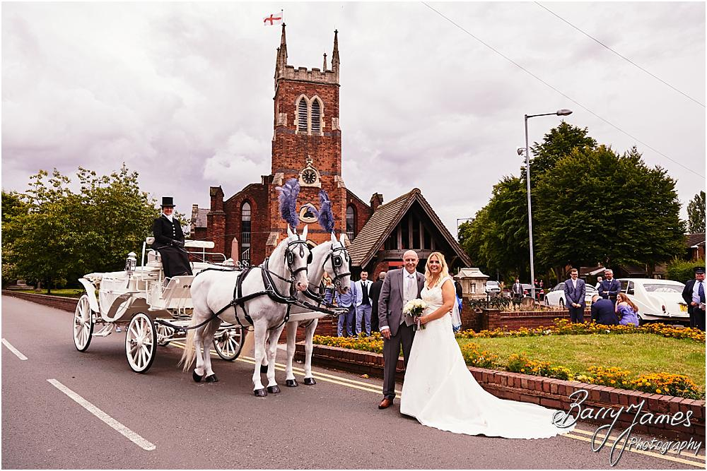 Perfect wedding transport with the carriage from Elaine Barnard at Horsedrawns Occasions for the wedding at St Michaels Church in Pelsall by Walsall Wedding Photographer Barry James