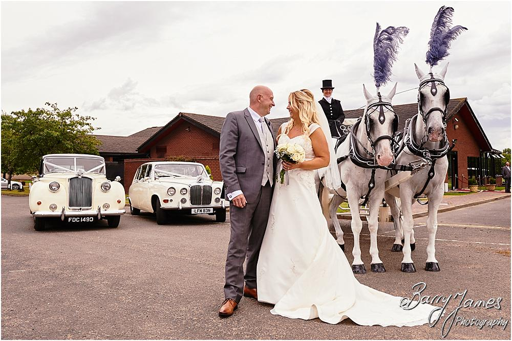 Creative photographs with the vintage wedding cars and the horsedrawn carriage at Calderfields in Walsall by Walsall Wedding Photographer Barry James