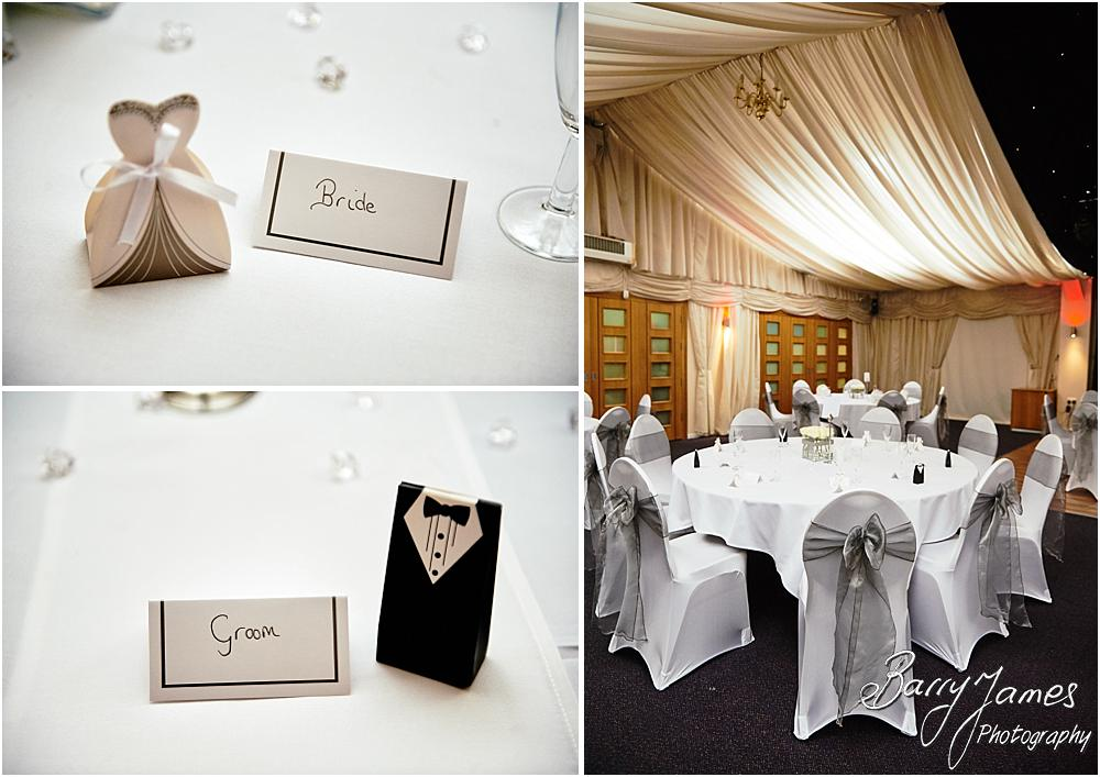 Stunning simple room decoration for the wedding breakfast at Calderfields in Walsall by Walsall Wedding Photographer Barry James