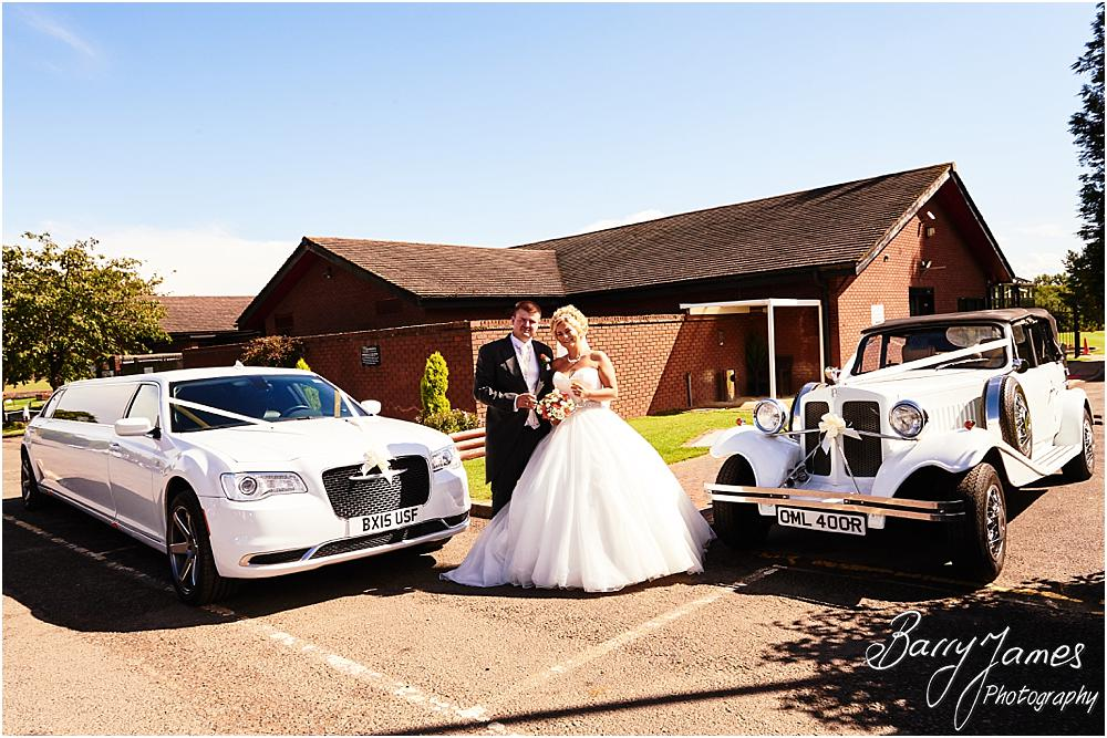 Stunning photographs with the Bride and Groom and their fabulous cars from Finishing Touch at Calderfields in Walsall by Calderfields Wedding Photographer Barry James