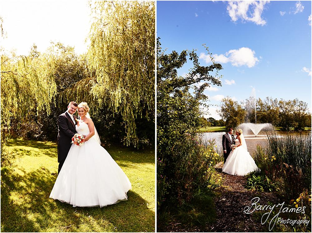 Lakeside portraits of the stunning bride and groom at Calderfields in Walsall by Calderfields Wedding Photographer Barry James