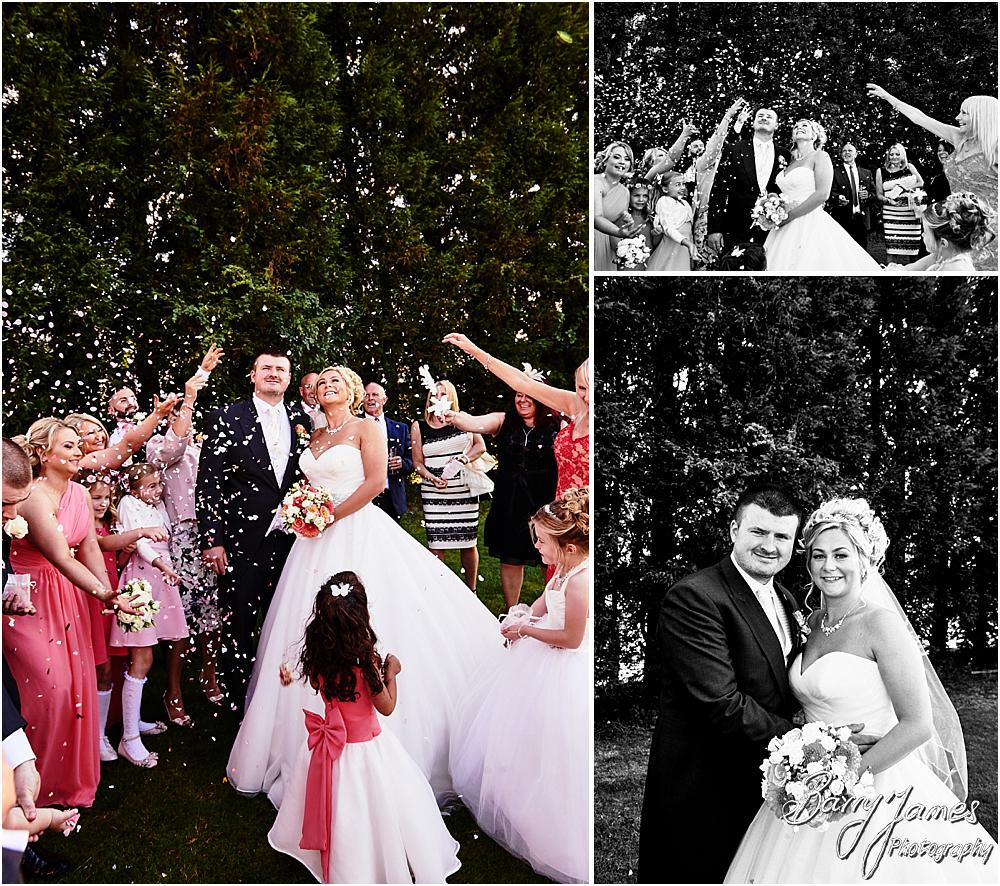 Confetti fun at Calderfields in Walsall by Calderfields Wedding Photographer Barry James