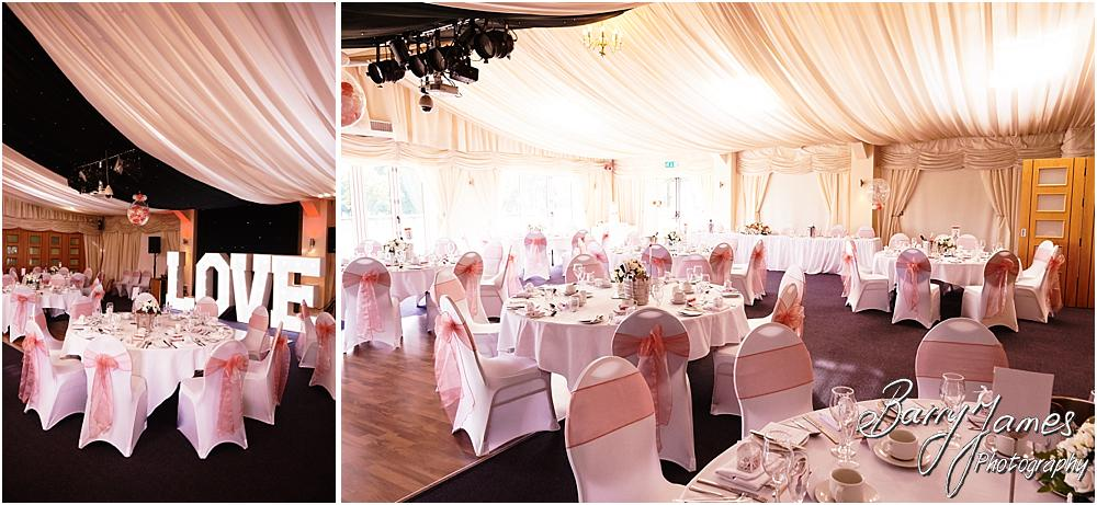 Stunning and elegant design for the wedding breakfast at Calderfields in Walsall by Calderfields Wedding Photographer Barry James