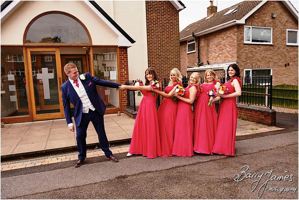 Contemporary groomsmen portraits at St Annes at Streetly by Wedding Photographer Barry James