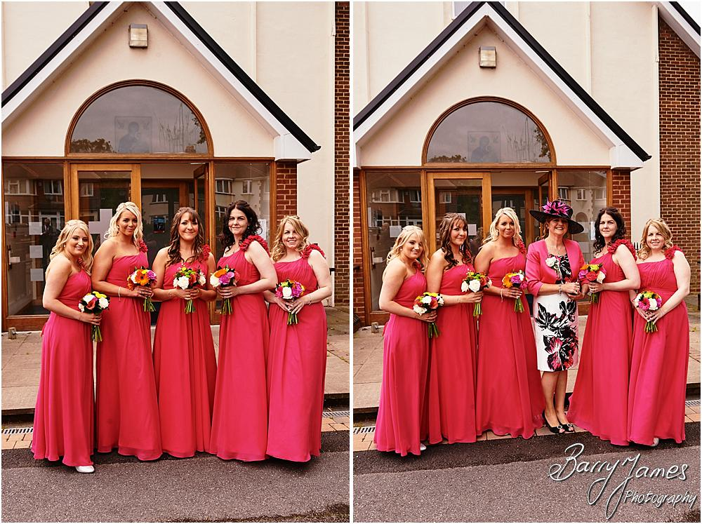 Contemporary bridal party portraits at St Annes at Streetly by Wedding Photographer Barry James