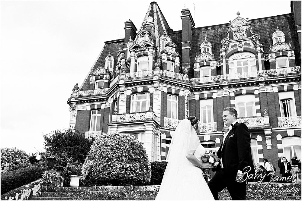 Creative natural wedding portraits around the stunning grounds and gardens at Chateau Impney at Droitwich by Wedding Photographer Barry James