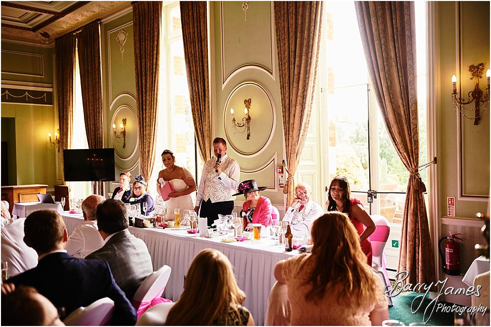 Creative candid photographs of the wonderful speeches at Chateau Impney at Droitwich by Wedding Photographer Barry James