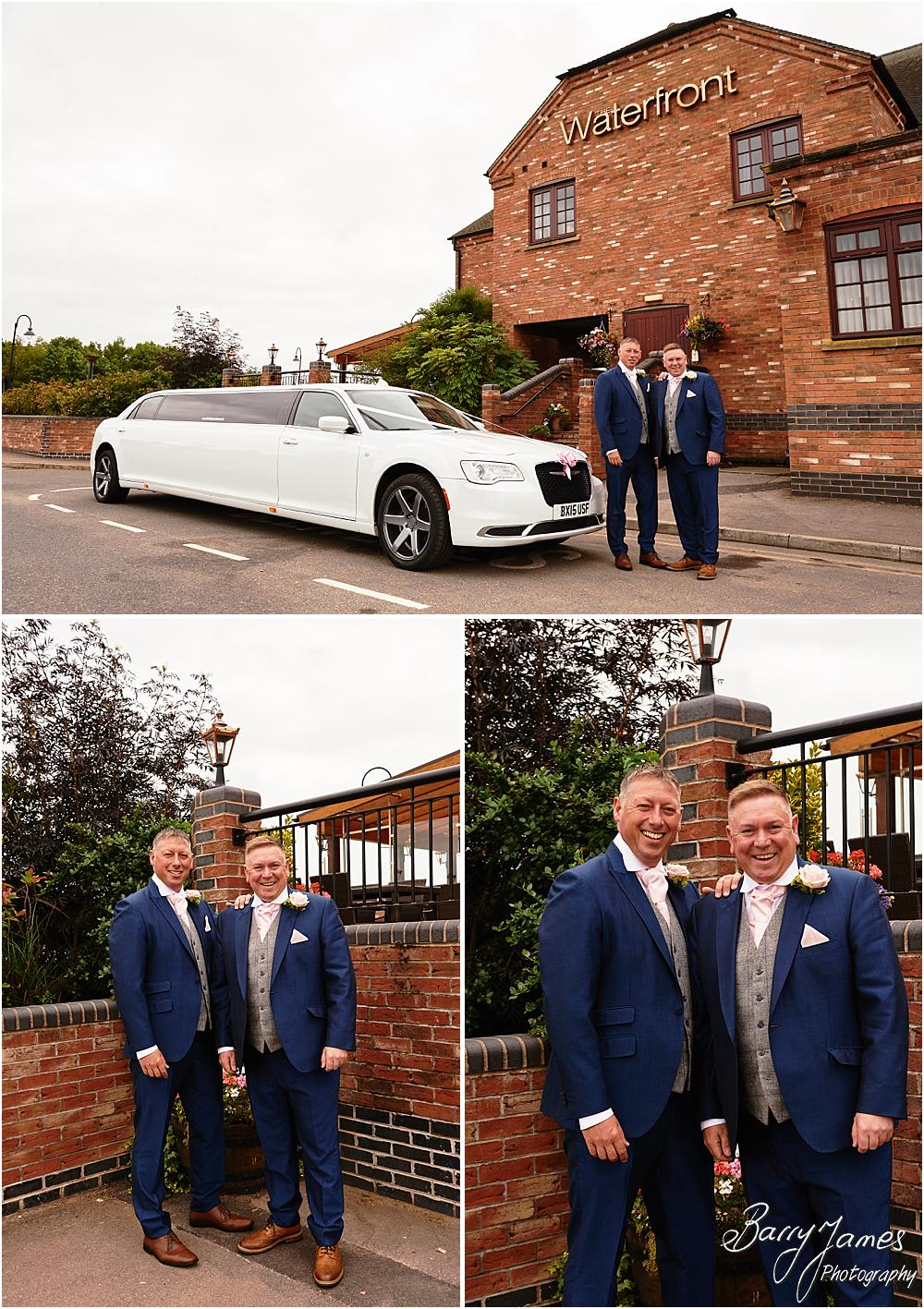 Capturing relaxed photographs of the Groom at The Crows Nest at Barton Marina by Wedding Photographer Barry James