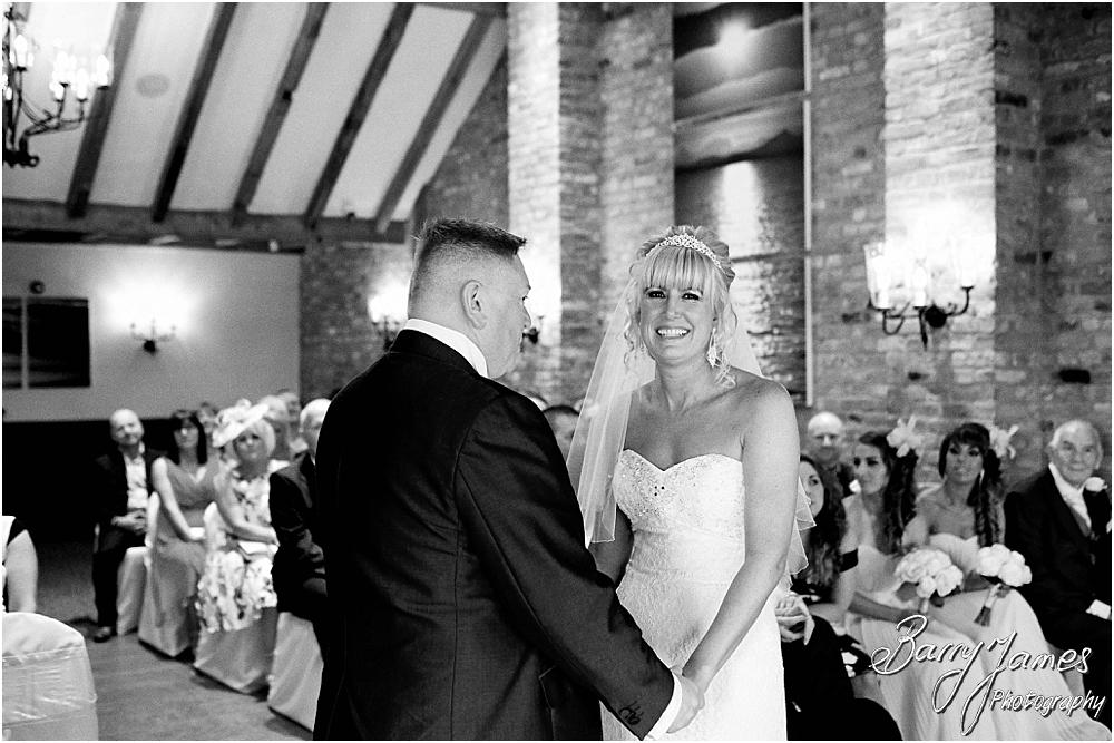 Unobtrusive photographs capturing the beautiful wedding ceremony at The Crows Nest at Barton Marina by Wedding Photographer Barry James
