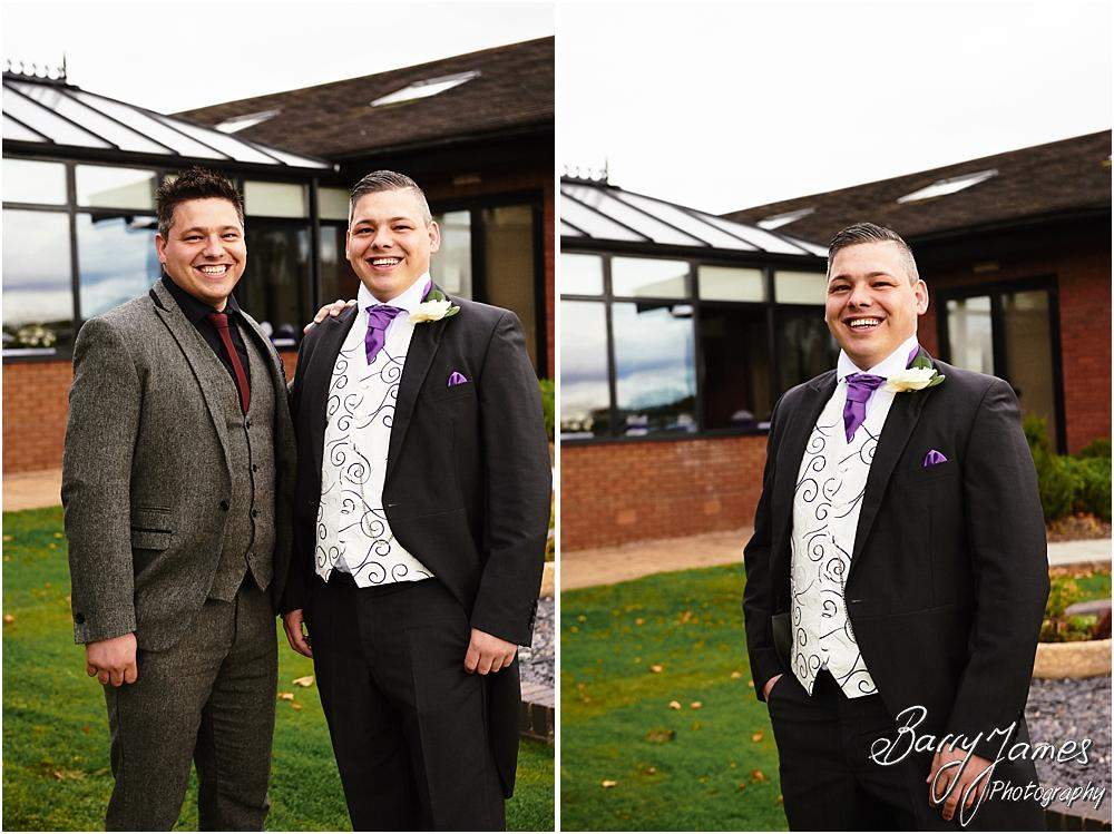 Relaxed portraits of the groom and ushers at Calderfields in Walsall by Walsall Wedding Photographer Barry James