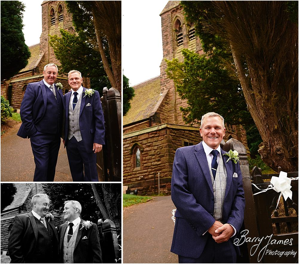 Creative relaxed portraits of the groomsmen at St Johns Church in Hammerwich by Burntwood Wedding Photographer Barry James