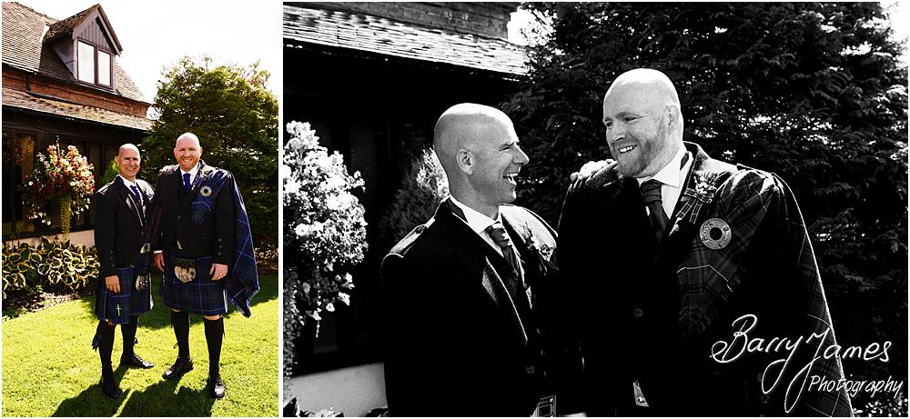 Contemporary fun portraits of the groomsmen at Oak Farm Hotel in Cannock by Cannock Wedding Photographer Barry James