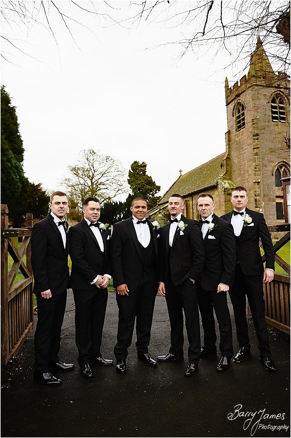 Relaxed contemporary portraits of the groomsmen at St James Church + The Moat House in Acton Trussell by Stafford Wedding Photographers Barry James