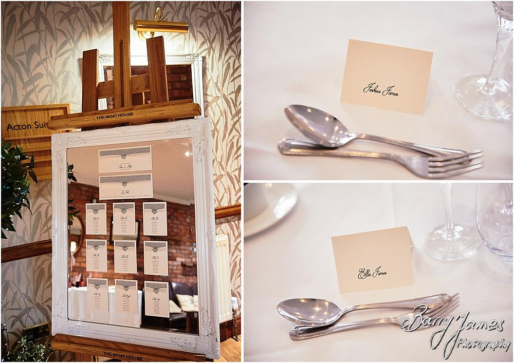 Stunning details and styling for the wedding breakfast at The Moat House in Acton Trussell by Stafford Wedding Photographers Barry James