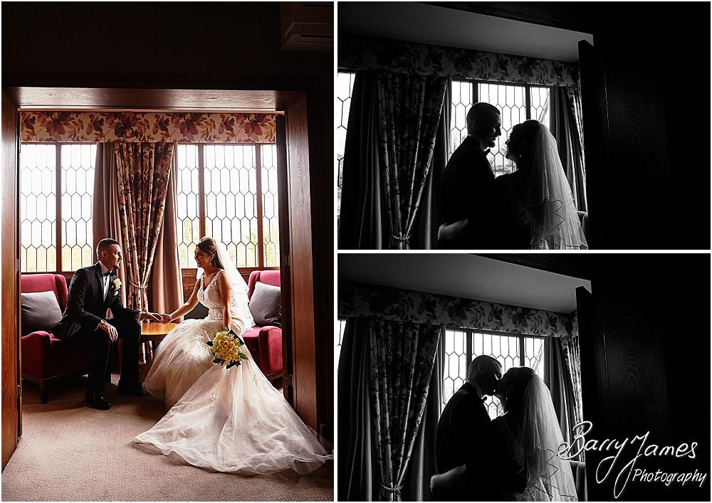 Creative intimate portraits in the bedroom at The Moat House in Acton Trussell by Stafford Wedding Photographers Barry James
