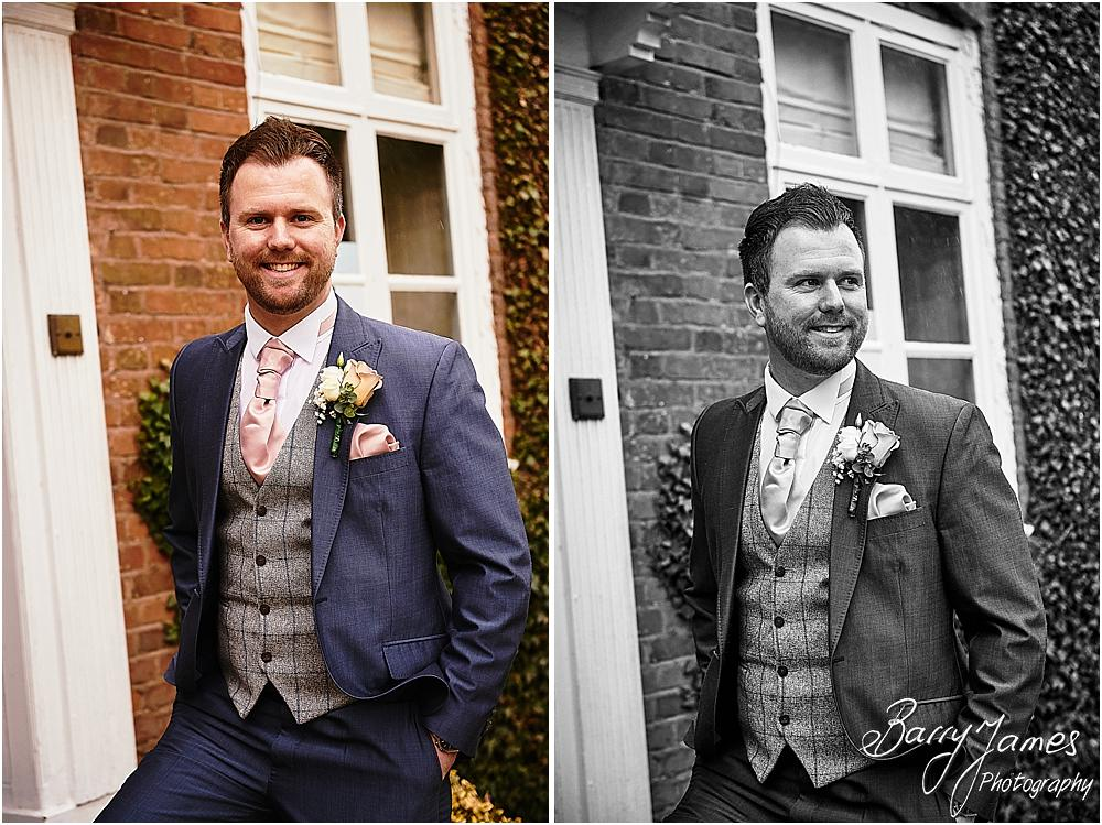 Creative contemporary portraits of the groom and groomsmen at The Moat House in Acton Trussell by Staffordhire Wedding Photographers Barry James