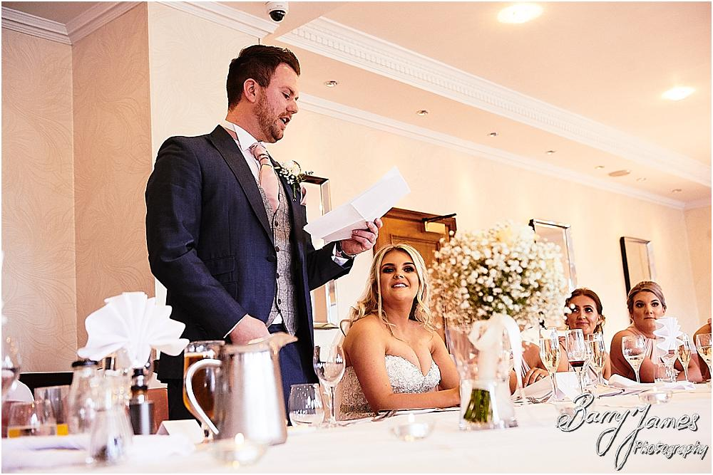 Candid photographs capturing the wedding speeches and the fabulous reactions from the guests at The Moat House in Acton Trussell by Staffordhire Wedding Photographers Barry James