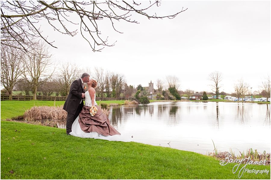 Beautiful relaxed portraits of bride and groom around grounds at The Moat House in Stafford by Staffordshire Wedding Photographer Barry James