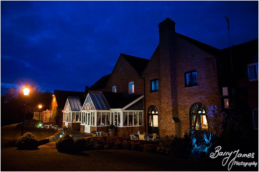 Beautiful evening wedding photographs at The Moat House in Acton Trussell by Reportage Wedding Photographer Barry James